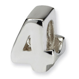 "Children's Personalized Sterling Silver Number ""4"" Charm Bead"