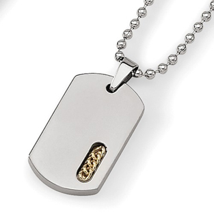 Mens 24K Gold Titanium Diamond Dog Tag Pendant Necklace
