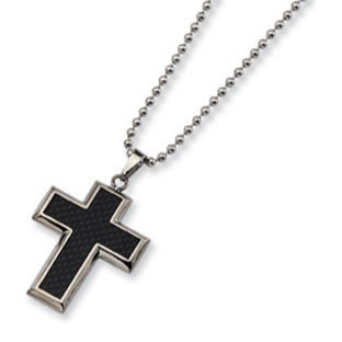 Mens titanium black carbon fiber cross pendant necklace jewelry mens titanium black carbon fiber cross pendant necklace jewelry mozeypictures Images