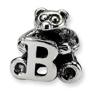 "Kids Personalized Silver Letter ""B"" Initial Teddy Bear Charm Bead"