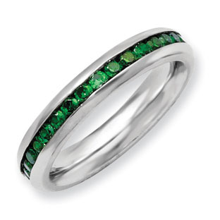 Women's Stainless Steel Green CZ May Birthstone Ring Jewelry