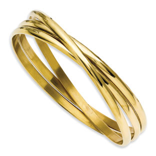 Women's 3 Piece Gold Plated Stainless Steel Intertwined Bangle Set