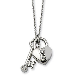 Women's Stainless Steel CZ Heart Lock and Key Pendant Jewelry