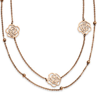 Womens Rose Gold Stainless Steel Flower Necklace Jewelry