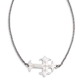 Men's Dual Finish Sideways Cross Pendant Stainless Steel Jewelry