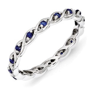 Sterling Silver Mothers Sapphire Gemstone Stackable Eternity Ring