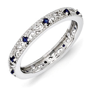 Sterling Silver Sapphire Birthstone Filigree Eternity Stack Ring
