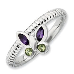 Peridot Amethyst Butterfly Stack Ring In Sterling Silver
