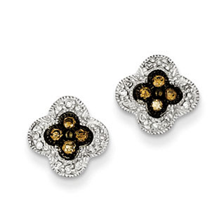 Silver 1/4 Carat Champagne Brown White Diamond Small Flower Earrings