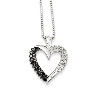 34 carat white black diamond open heart pendant necklace in 34 carat white black diamond open heart pendant necklace in silver mozeypictures Images