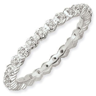 White Gold over Silver Diamond Eternity Stacking Band