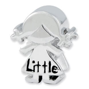 Kids Personalized Sterling Silver Little Sister Girl Charm Bead