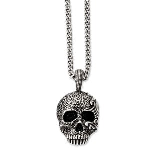 Mens Stainless Steel Antiqued Skull Pendant Necklace Mens Jewelry