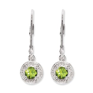Round Peridot August Birthstone Diamond Leverback Sterling Silver Earrings