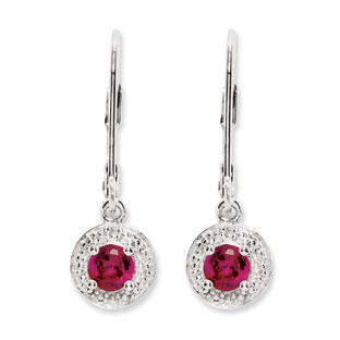 Round Ruby July Birthstone Diamond Leverback Sterling Silver Earrings