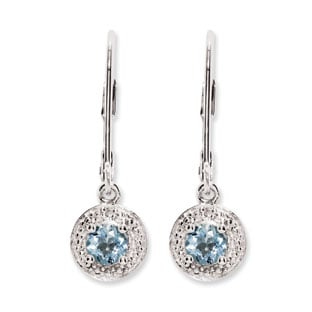 Round Aquamarine March Birthstone Diamond Leverback Sterling Silver Earrings