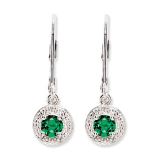 Round Emerald May Birthstone Diamond Leverback Sterling Silver Earrings