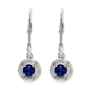 Round Sapphire September Birthstone Diamond Leverback Sterling Silver Earrings