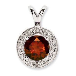 Round Garnet January Birthstone Diamond Sterling Silver Pendant