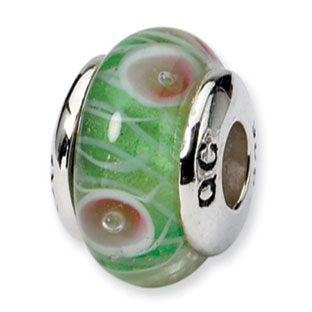 Kids Custom Sterling Silver Green Pink Circles Glass Charm Bead