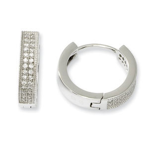 16mm Cz Men S Hoop Earrings In 925 Sterling Silver