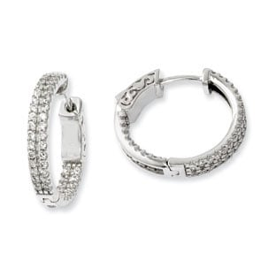 Pave CZ 20MM Small Hoop Earrings In .925 Sterling Silver