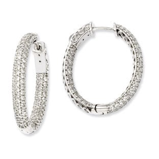 925 Sterling Silver Pave Cz 25mm Oval Hoop Earrings Jewelry