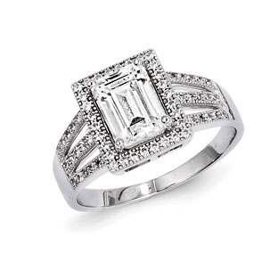 .925 Sterling Silver Rectangle CZ Engagement Ring Sterling Silver CZ Jewelry