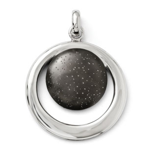 Chic Black Plated Sterling Silver Circle Pendant Silver Jewelry