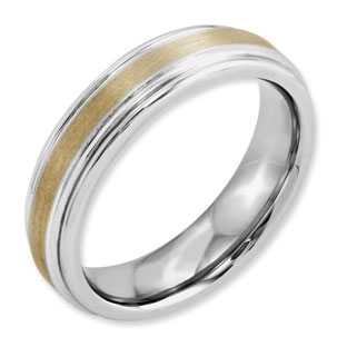 Men's 6MM Dual Finish 14K Gold Inlay Rounded Cobalt Wedding Ring
