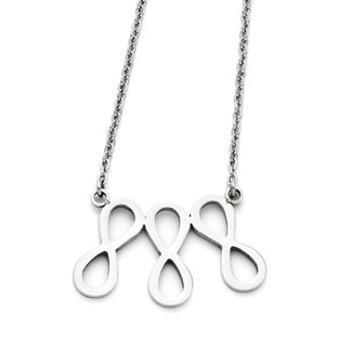 Stainless Steel Triple Infinity Symbol Necklace
