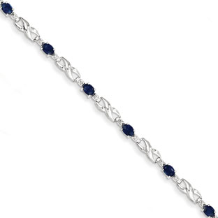 14K White Gold Sapphire Gemstone Diamond Infinity Sign Bracelet
