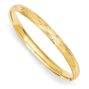 Kid's 14K Yellow Gold Florentine Engraved Diamond Cut Bangle