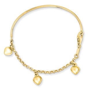 Children's 14K Yellow Gold Dangle Heart Charm Bracelet