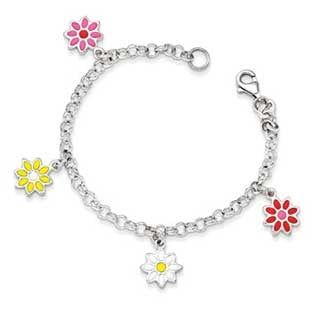 Kid's Sterling Silver Colorful Flowers Charm Bracelet