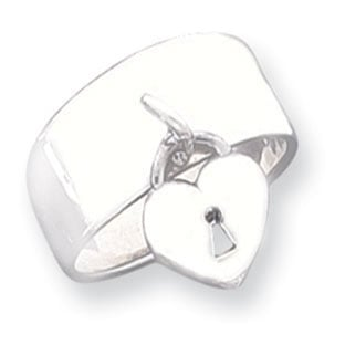 .925 Sterling Silver Heart Lock Charm Ring Band
