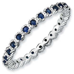 Sterling Silver Eternity Sapphire Birthstone Stackable Band Ring