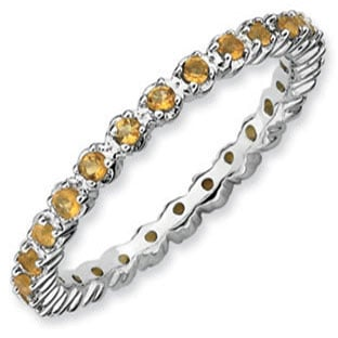 Sterling Silver Eternity Citrine Birthstone Stackable Band Ring