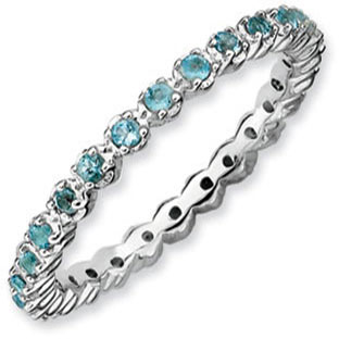 Sterling Silver Eternity Blue Topaz Stackable Band Ring