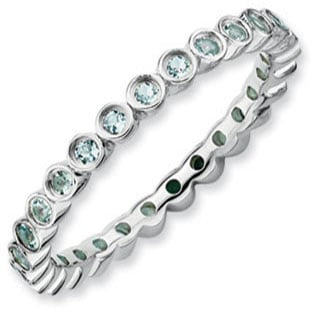 Mother's Birthstone Ring Stackable 925 Silver Aquamarine Eternity Band