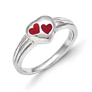 Kid's Jewelry - Children's Sterling Silver Red Heart Ring