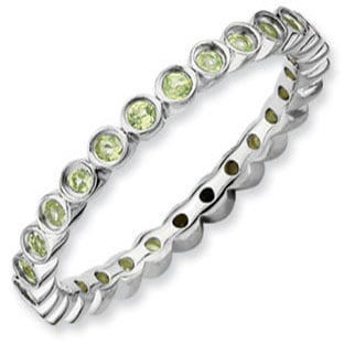 Mother's Birthstone Ring Stackable 925 Silver Peridot Eternity Band
