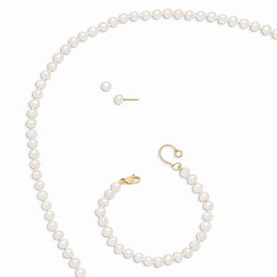 14K Yellow Gold Children's Pearl Set - Pearl Earrings, Bracelet, and Necklace