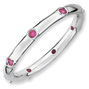 Eternity Stackable 925 Silver Ruby Mother's July Birthstone Ring