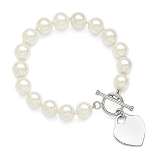 Sterling Silver 10-11MM White Shell Pearl Heart Bracelet