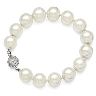 12-13MM White Shell Pearl CZ Clasp Bracelet In Sterling Silver
