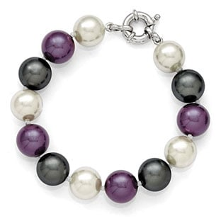 Colorful 12-13MM Black Purple White Shell Pearl Bracelet In Sterling Silver