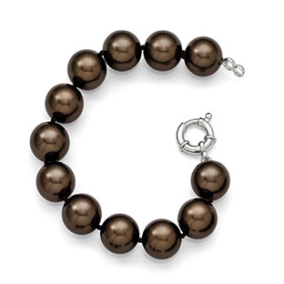 Large 14-15MM Brown Shell Pearl 7.5 Inch Bracelet In Sterling Silver