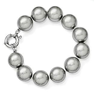 Large 14-15MM Grey Shell Pearl 7.5 Inch Bracelet In Sterling Silver