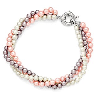 Triple Row 4-5MM Multi Color White Pink Purple Shell Pearl Bracelet In Silver